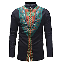 Men's African Printed Dashiki Long Shirts Ankara Style - White