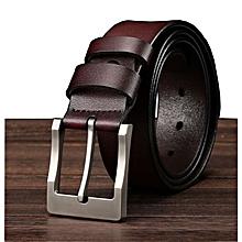 Men's leather belt wild two-layer wide belt JEEP belt men-105CM-brown