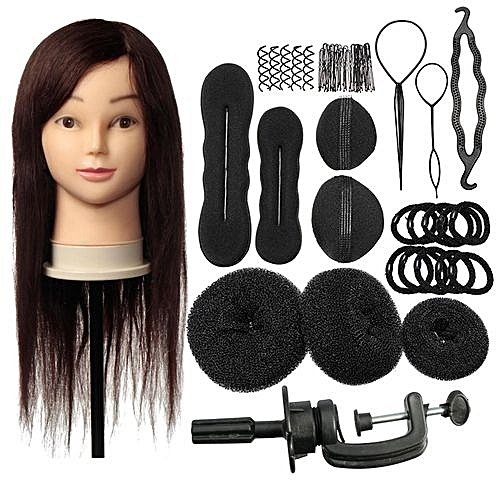 Beauty 24'' 100% Cosmetology Hair Training Practice Head Hairdressing Mannequin + Braid