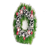 Christmas Wreath With Silver & Red Balls- Green