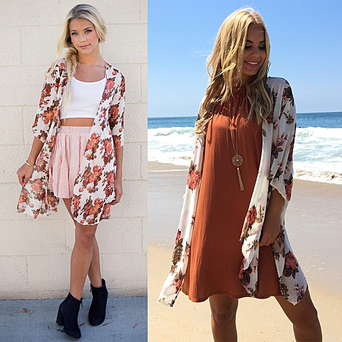 d3db7f7d55 Women Beach Kimono Chiffon Floral Print Open Front Oversize Long Boho Casual  Cover Up Cardigan White