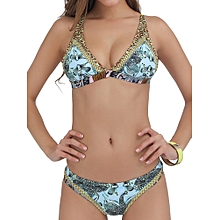 Sexy Back Rope Army Green Printed Wireless Deep Plunge Breathable Bikinis Set