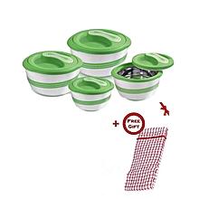 Set of 4 Pinnacle Palazio Hot Pot Serving Bowls + FREE Kitchen Cloth - Green
