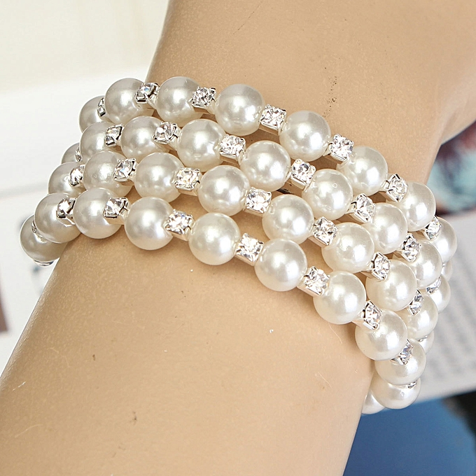 buy generic fashion new style pearl rhinestone cuff bangle wedding