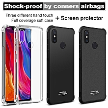 Case Airbag Cover Shockproof Back Cover For Xiaomi 8 Soft Silicone Cover For Xiaomi Mi 8 TPU Matte Black + Screen Protector