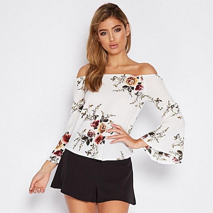 630c9b29f2 Women Floral Off Shoulder Long Sleeve Loose Asymmetry Hem Blouse Tops White