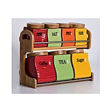 7 Pieces - Storage Canisters with Stand - Multi coloured
