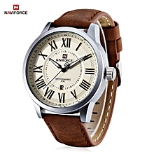 NAVIFORCE 9126 Male Quartz Watch Roman Numerals Scales Date Display Leisure Wristwatch for Men - LIGHT YELLOW
