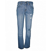 Light Blue Distressed Slim Fit Jeans
