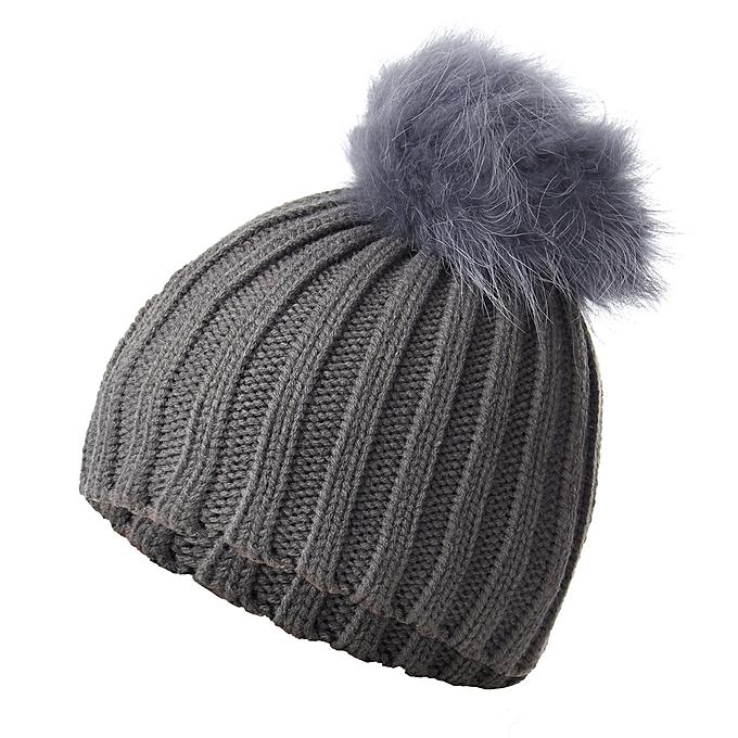 436523abec8469 18cm Pom Boys Girls Children Winter Knit Beanie Ski Cap Bobble Faux Fur Ball  Hat