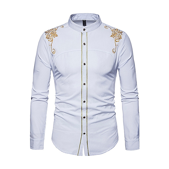 f489d12ade Chic Euramerica Palace Style Embroidery Slim Fit Band Collar Shirts for Men