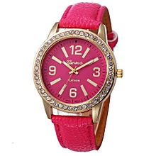 Olivaren Fashion Women's Geneva Watches Stainless Steel Analog Leather Quartz Wrist WatchHot Pink