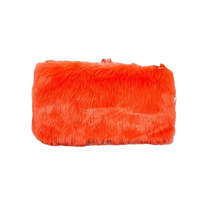 debaab00dc TIMELINE FASHION DESIGNS Orange Women s Faux Fur Elegant Clutch ...