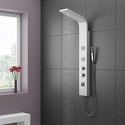 Model Of Thermostatic Shower Panel Column Tower With Body Jets Twin Head Bathroom Shower HD - Cool shower tower panel Idea