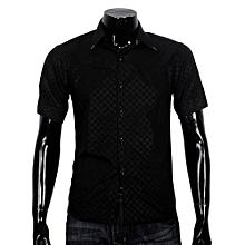 Obscure Men's Plaid Short-sleeved Shirt Slim Black XL-  Black   XL