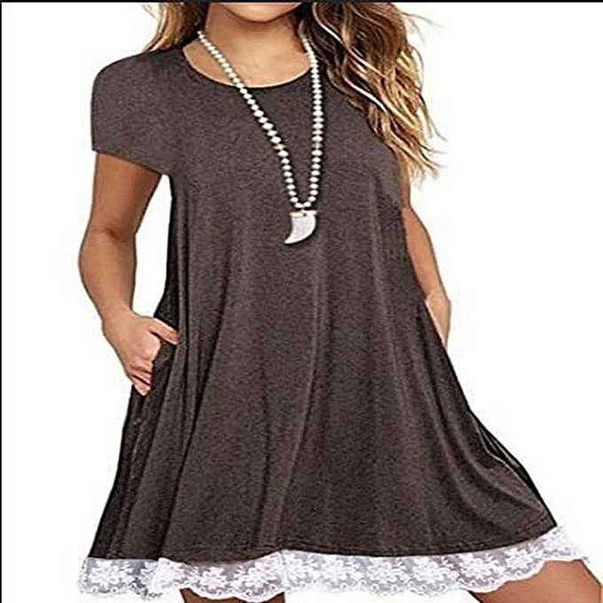 82ee9eccb1f2 Generic Women Lace Short Sleeve A-Line Swing Loose Tunic Top Blouse T-Shirt  Dress - Coffee