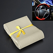 Car Genuine Leather Hand-stitched Adaptation Steering Wheel Cover(Beige)