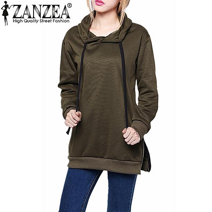 92ed991f9a6 ZANZEA Spring Autumn Women Long Sleeve Hooded Loose Casual Loose Hoodies  Sweatshirt Plus Size Outwear S