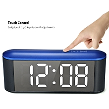 Digital Touch Control LED Mirror Clock USB Powered 12H/24H °C/°F Display Alarm Clock with Snooze Function Adjustable LED Luminance--Blue Shell+White Light