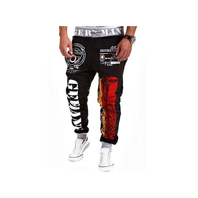 d41e35a681 2016 New Winter Casual Mens Joggers Pants Brand High Quality Harem Hip Hop  Letter Print Pants Men Dance Fitness Sweatpants(Black)