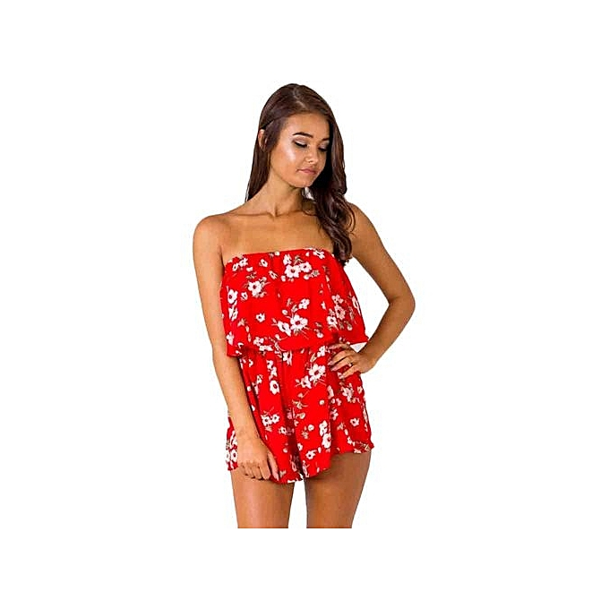 51009cd09f2 bluerdream-Women Strapless Backless Floral Maxi Evening Party Playsuit  Romper Jumpsuit-Red