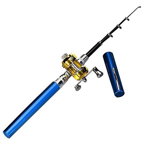 3PCS Mini Portable Pocket Fish Pen Shape Aluminum Alloy Fishing Rod Pole Reel Blue