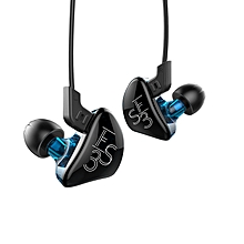 In-ear Detachable HiFi Music Earphones With Hybrid Driver Units without Mic - Black + Blue