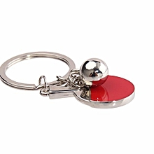 Fashion Metal Bead Decor Red Table Tennis Bat Pendant Keyring Keychain
