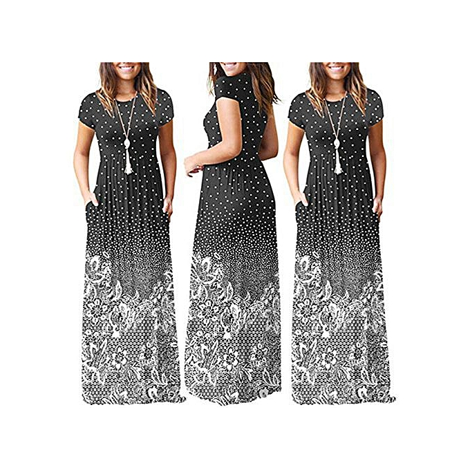 5ce8ffdf274e Fashion Hiaojbk Store Women s Casual Floral Printed Short Sleeve With Pocket  Maxi Dress Long Dress -Black. By Fashion