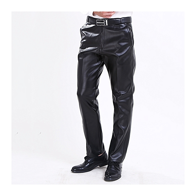 354d6cdb Men's Windproof Waterproof PU Leather Pants Casual Plus Cashmere Warm  Motorcycle Pants