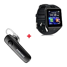 New Bundle DZ09 Smart Watch Phone for Android + Free Bluetooth  - Black