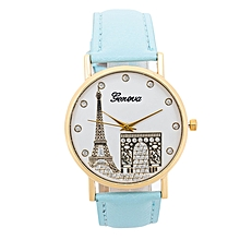 Blue PU Leather Strap Women's Geneva Watch.