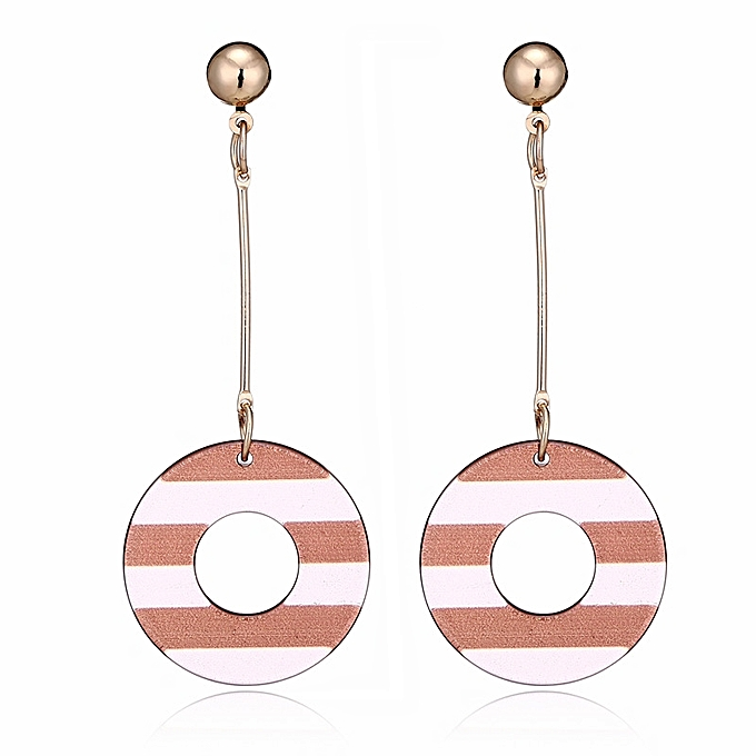 Buy Generic Women Long Acrylic Earrings Strip Round Drop Dangle