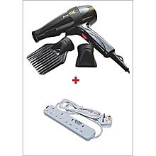 Super GEK 3000 Hairdryer - Black With 4-Way Extension Socket