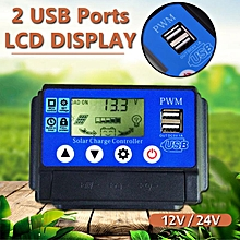 50A Solar Charge Controller 12V / 24V Automatic Adapt LCD Display USB Ports