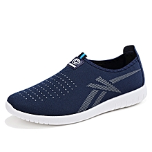 Men Shoes Mesh Sneakers Trends Moccasins For Male (Blue)
