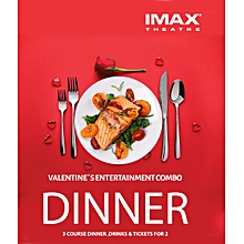 Valentines' Entertainment Combo for TWO - ANGA IMAX  Dinner Tickets