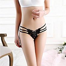 singedanWomen Sexy Lace Briefs Panties Thongs G-string Lingerie Underwear BK -Black