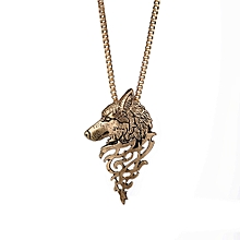 Wolf Head Shape Alloy Pendant Fashion Jewelry Gift Necklace