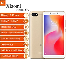 "Xiaomi Redmi 6A 5.45"" 2GB RAM + 32GB ROM Android 8.1 - Gold"