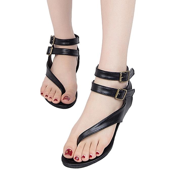 be0a3ec6f9290 Women Summer Strappy Gladiator Low Flat Heel Flip Flops Beach Sandals Shoes