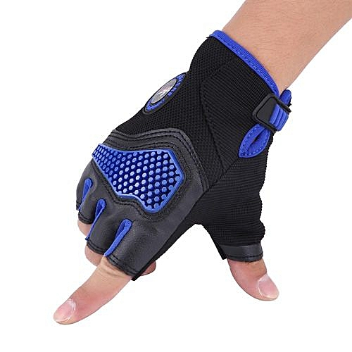 Generic Pair Of Half Finger Breathable Gloves For Motorcycle Cycling Racing Outdoor Sports Blue M Outdoor Sports Gloves