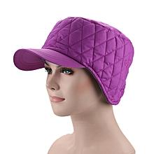 Women Men Solid Color Plus Velvet Warm Hat Windbreaker Fabric Earmuffs Hat