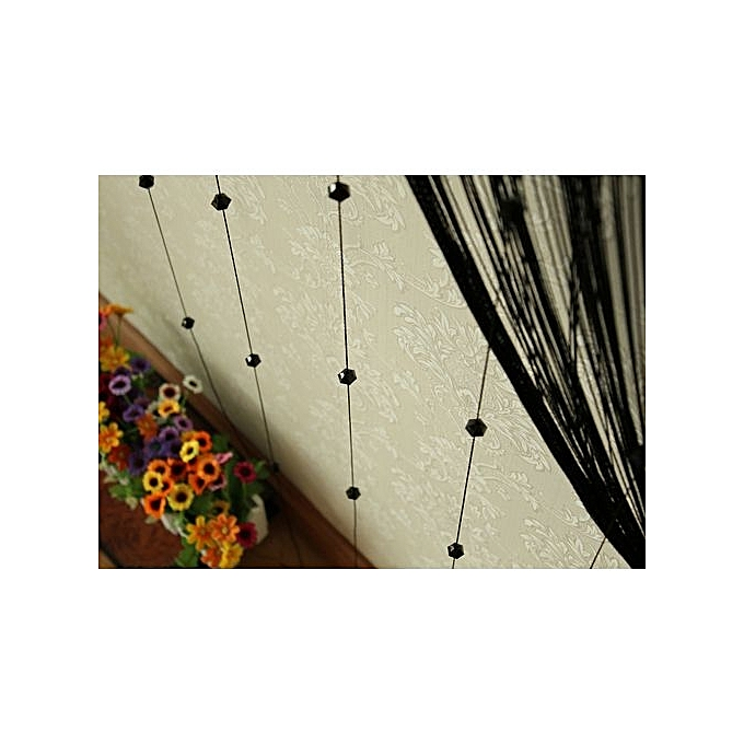 Elegant Home Decoration String Curtains Patio Net Fringe For Door Fly Screen Windows Divider Cut To Size Black