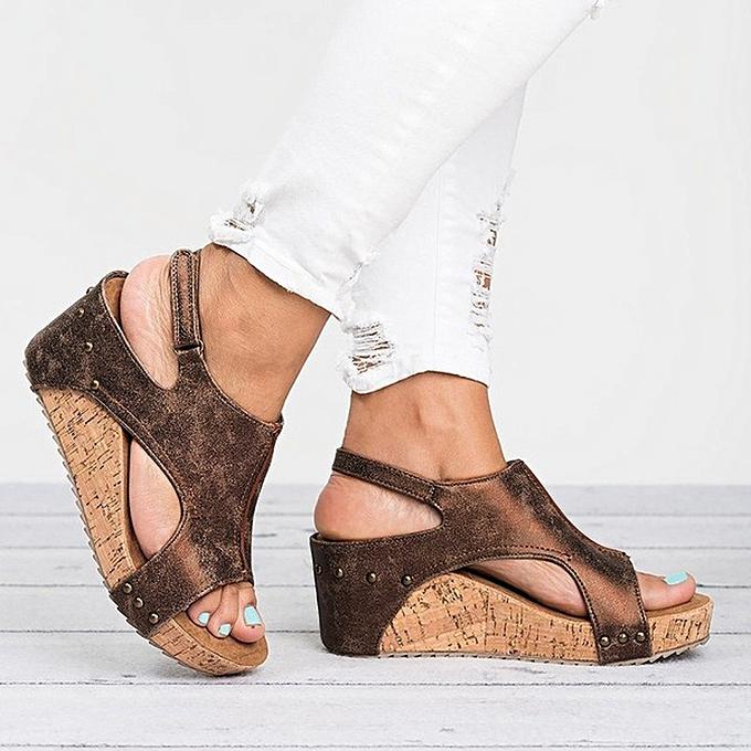 2f9e7e3a9c6ae7 Xiuxingzi Women Summer Round Toe Breathable Rivet Beach Sandals Boho Casual  Wedges Shoes ...