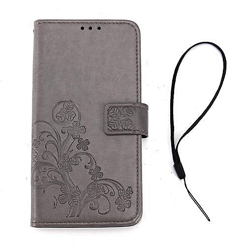 quality design fbf95 0c43e Samsung S8 Plus Embossed Mobile Phone Leather Case Clover Clamshell Card  Phone Case Tpu Shell Grey