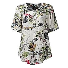 80fe5d00249403 ZANZEA Women Blouses Summer Vintage Print Blusas Shirts O Neck Short Sleeve  Roll Up Casual Tees