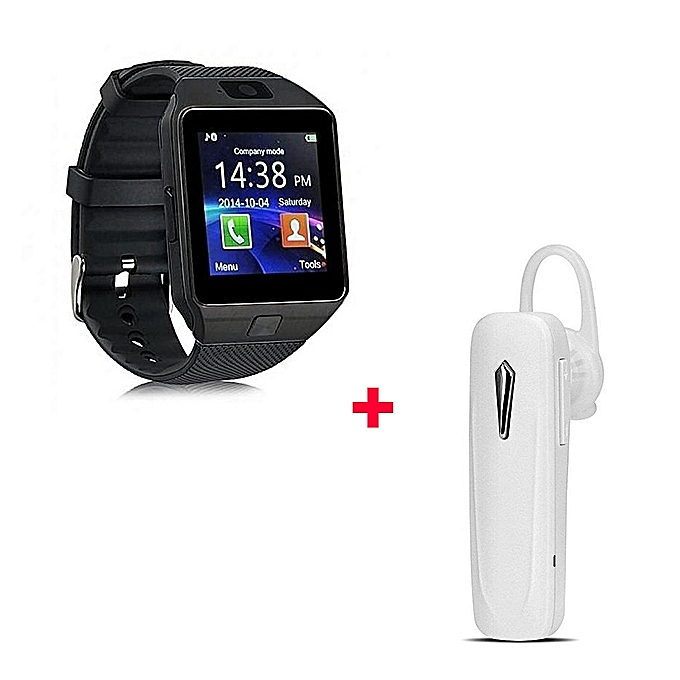 buy generic dz09 smart watch phone with free bluetooth headset white