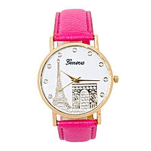Virtual Pink PU Leather Strap Women's Geneva Watch