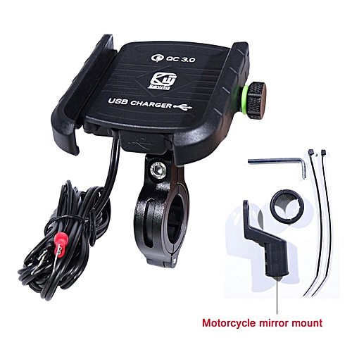 brand new 19261 8a252 Waterproof Motorbike 360 Degree Motorcycle Handlebar Mirror Cell Phone  Mount Holder with QC 3.0 USB Charger for iPhone Samsung LIMEI
